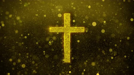 evangélium : Church Cross Christianity Religion Icon Golden Glitter Glowing Lights Shine Particles. Object, Shape, Web, Design, Element, symbol 4K Loop Animation. Stock mozgókép