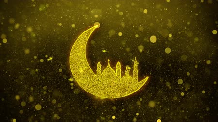 arabesk : Islamic mosque Moon ramadan Icon Golden Glitter Glowing Lights Shine Particles. Object, Shape, Web, Design, Element, symbol 4K Loop Animation.