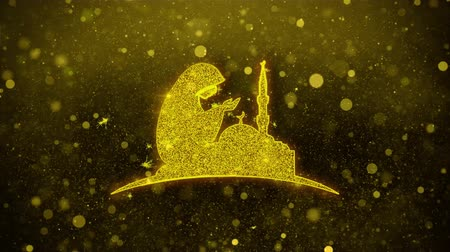 hieróglifo : Dua,namaz,praying,islam,islamic Icon Golden Glitter Glowing Lights Shine Particles. Object, Shape, Web, Design, Element symbol 4K Loop Animation