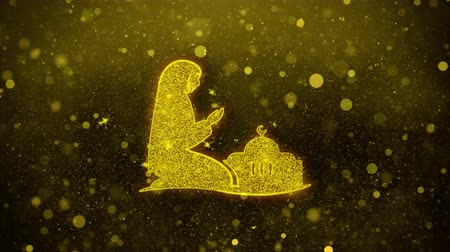 vetor : Dua,namaz,praying,islam,islamic Icon Golden Glitter Glowing Lights Shine Particles. Object, Shape, Web, Design, Element symbol 4K Loop Animation