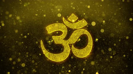 mantra : Hinduism, meditation, om, yoga hindu symbol, indian religion Icon Golden Glitter Glowing Lights Shine Particles. Object, Shape, Web, Design, Element, symbol 4K Loop Animation.