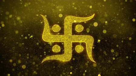 labirent : Hindu, holy, indian, religion, swastik, swastika Icon Golden Glitter Glowing Lights Shine Particles. Object, Shape, Web, Design Element symbol 4K Loop Animation Stok Video