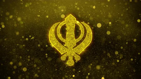 davide : Khanda, religione, simbolo religioso, sikhismo Icona Golden Glitter Glowing Lights Shine Particles. Oggetto, forma, web, design, elemento, simbolo 4K Loop Animation.
