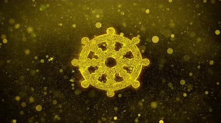 samsara : Wheel of Dharma Buddhism religion Icon Golden Glitter Glowing Lights Shine Particles. Object, Shape, Web, Design, Element, symbol 4K Loop Animation. Stock Footage