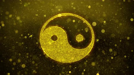 estilizado : Yin Yang Taoism buddhism daoism religion Icon Golden Glitter Glowing Lights Shine Particles. Object, Shape, Web, Design, Element, symbol 4K Loop Animation.