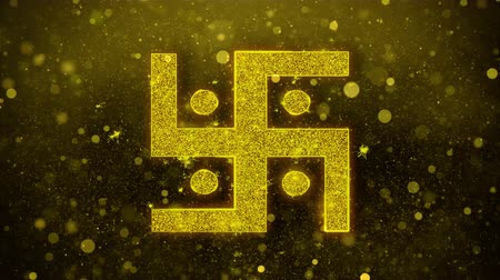 motívum : Hindu, holy, indian, religion, swastika, swastika Icon Golden Glitter Glowing Lights Shine Particles. Object, Shape, Web, Design Element symbol 4K Loop Animation Stock mozgókép