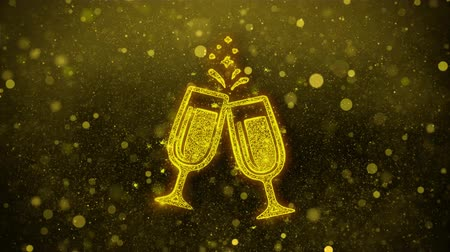 şarap kadehi : Cheers Celebration Toast Two Glasses Champagne Icon Golden Glitter Glowing Lights Shine Particles. Object, Shape, Web, Design, Element, symbol 4K Loop Animation.