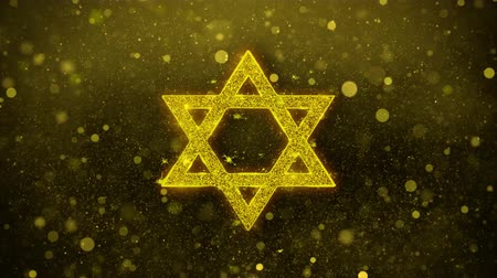hebräisch : David Der jüdische Star Religion Icon Golden Glitter Glowing Lights Shine Particles. Objekt, Form, Web, Design, Element, Symbol 4K-Loop-Animation.