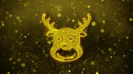 sob : Christmas Reindeer Xmas Deer Icon Golden Glitter Glowing Lights Shine Particles. Object, Shape, Web, Design, Element, symbol 4K Loop Animation.
