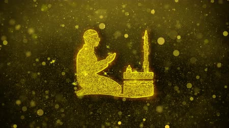 vetor : Islamic, pray, prayer, ramadan, religion Icon Golden Glitter Glowing Lights Shine Particles. Object, Shape, Web, Design, Element symbol 4K Loop Animation