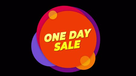 vinheta : One Day Sale Flat Style Banner Sticker Colorful Label Popup Promotional Animation. Sale, Discounts, Deals, Special Offers. Green Screen and Alpha Matte
