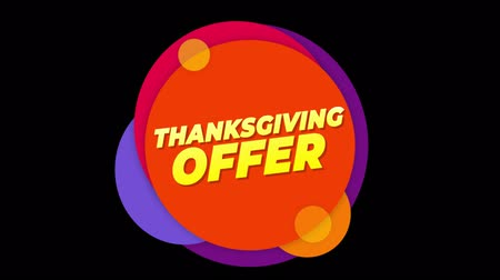 metka : Thanksgiving Offer Flat Style Banner Sticker Colorful Label Popup Promotional Animation. Sale, Discounts, Deals, Special Offers. Green Screen and Alpha Matte Wideo