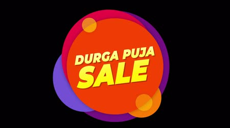 puja : Durga Puja Sale Flat Style Banner Sticker Colorful Label Popup Promotional Animation. Sale, Discounts, Deals, Special Offers. Green Screen and Alpha Matte