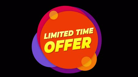 эксклюзивный : Limited Time Offer Flat Style Banner Sticker Colorful Label Popup Promotional Animation. Sale, Discounts, Deals, Special Offers. Green Screen and Alpha Matte