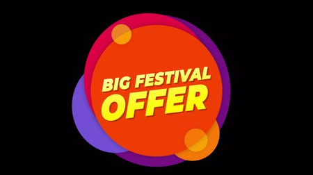 brochura : Big Festival Offer Flat Style Banner Sticker Colorful Label Popup Promotional Animation. Sale, Discounts, Deals, Special Offers. Green Screen and Alpha Matte
