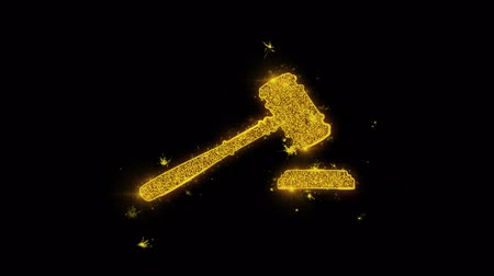 tribunal : Justice, Hammer Judge Court, law Icon Sparks Glitter Particles on Black Background. Shape, Design, Text, Element, Symbol Alpha Channel 4K Loop. Stock Footage