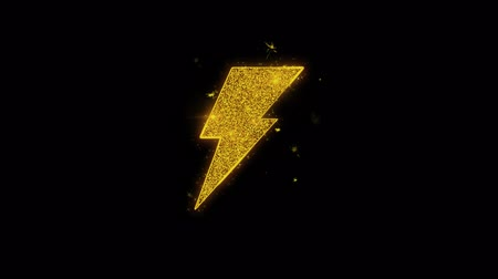 akumulator : Energy Flash Icon Sparks Glitter Particles on Black Background. Shape, Design, Text, Element, Symbol Alpha Channel 4K Loop.