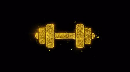 súlyzó : Barbell, dumbbell, exercise Icon Sparks Glitter Particles on Black Background. Shape, Design, Text, Element, Symbol Alpha Channel 4K Loop. Stock mozgókép