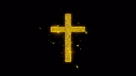 batismo : Church Cross Christianity Religion Icon Sparks Glitter Particles on Black Background. Shape, Design, Text, Element, Symbol Alpha Channel 4K Loop.