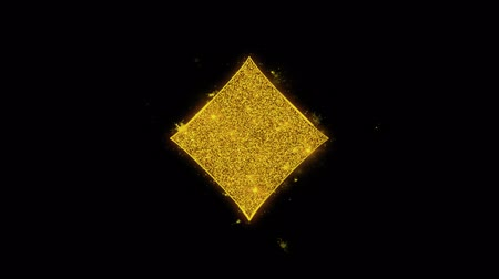 as : Diamond Card Suit Icon Sparks Glitter Particles on Black Background. Shape, Design, Text, Element, Symbol Alpha Channel 4K Loop.