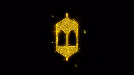 rosário : Islamic, islam, religious, Monument, Monuments Icon Sparks Glitter Particles on Black Background. Shape, Design, Text, Element, Symbol Alpha Channel 4K Loop.