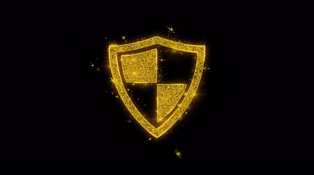 güvenlik duvarı : Defence, guard, protect, safety, shield Icon Sparks Glitter Particles on Black Background. Shape, Design, Text, Element, Symbol Alpha Channel 4K Loop.