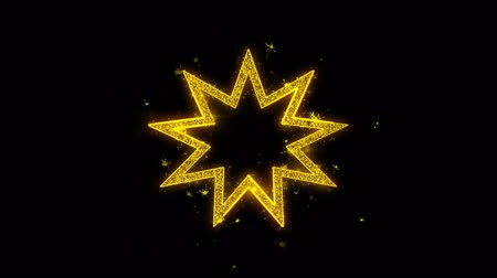 špičatý : Bahai Nine pointed star Bahaism Icon Sparks Glitter Particles on Black Background. Shape, Design, Text, Element, Symbol Alpha Channel 4K Loop. Dostupné videozáznamy