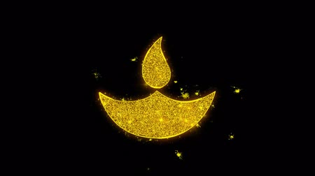 firecracker : Diwali, diwali diya, diwali lamp, diya Icon Sparks Glitter Particles on Black Background. Shape, Design, Text, Element, Symbol Alpha Channel 4K Loop.