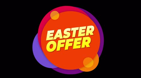 metka : Easter Offer Flat Style Banner Sticker Colorful Label Popup Promotional Animation. Sale, Discounts, Deals, Special Offers. Green Screen and Alpha Matte