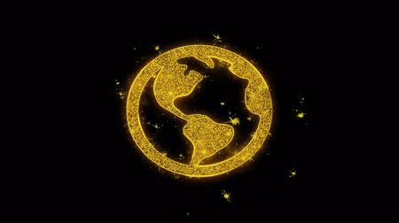 földrajz : Globe, online, world, Map Earth Icon Sparks Glitter Particles on Black Background. Shape, Design, Text, Element, Symbol Alpha Channel 4K Loop.
