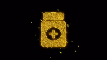 gyógyszertár : Medicine Health Care Icon Sparks Glitter Particles on Black Background. Shape, Design, Text, Element, Symbol Alpha Channel 4K Loop. Stock mozgókép