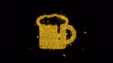 bira fabrikası : Beer, beer mug, cheers, glass beer Icon Sparks Glitter Particles on Black Background. Shape, Design, Text, Element, Symbol Alpha Channel 4K Loop.