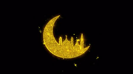 vallási : Islamic mosque Moon ramadan Icon Sparks Glitter Particles on Black Background. Shape, Design, Text, Element, Symbol Alpha Channel 4K Loop.