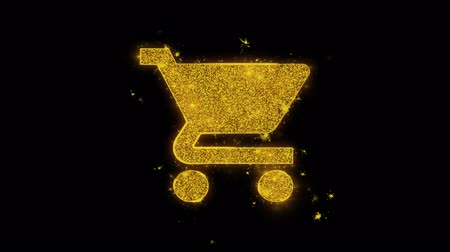 add to cart : Buy Shopping Cart Trolley Icon Sparks Glitter Particles on Black Background. Shape, Design, Text, Element, Symbol Alpha Channel 4K Loop. Stock Footage