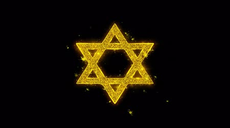 západ : David The Jewish star Religion Icon Sparks Glitter Particles on Black Background. Shape, Design, Text, Element, Symbol Alpha Channel 4K Loop.