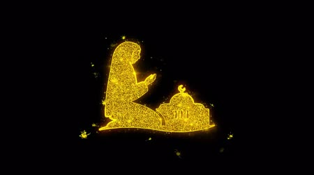 hieróglifo : Dua,namaz,praying,islam,islamic Icon Sparks Glitter Particles on Black Background. Shape, Design, Text, Element, Symbol Alpha Channel 4K Loop.