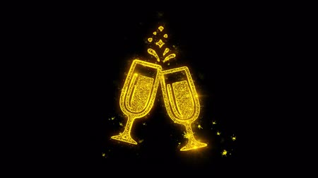 şarap kadehi : Cheers Celebration Toast Two Glasses Champagne Icon Sparks Glitter Particles on Black Background. Shape, Design, Text, Element, Symbol Alpha Channel 4K Loop.