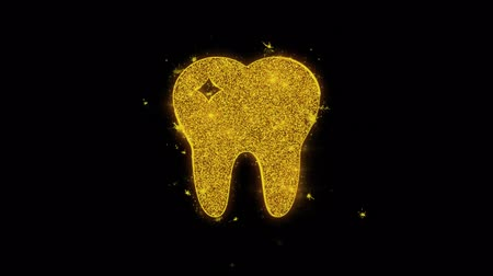 pictograma : Tooth Dental, dentist Icon Sparks Glitter Particles on Black Background. Shape, Design, Text, Element, Symbol Alpha Channel 4K Loop.