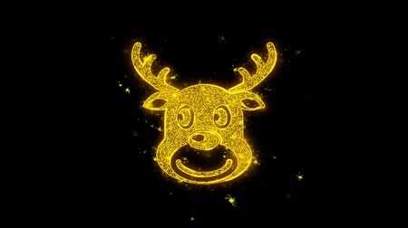 падуб : Christmas Reindeer Xmas Deer Icon Sparks Glitter Particles on Black Background. Shape, Design, Text, Element, Symbol Alpha Channel 4K Loop.