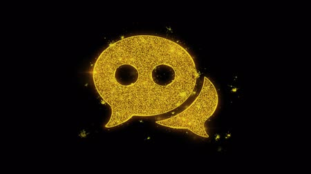 Речь воздушный шар : Chat Message Bubble, Talk Icon Sparks Glitter Particles on Black Background. Shape, Design, Text, Element, Symbol Alpha Channel 4K Loop.