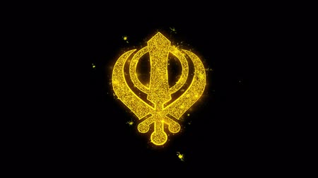 vallási : Khanda, religion, religious symbol, sikhism Icon Sparks Glitter Particles on Black Background. Shape, Design, Text, Element, Symbol Alpha Channel 4K Loop. Stock mozgókép