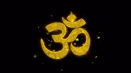 chakra : Hinduism, meditation, om, yoga hindu symbol, indian religion Icon Sparks Glitter Particles on Black Background. Shape, Design, Text, Element, Symbol Alpha Channel 4K Loop.
