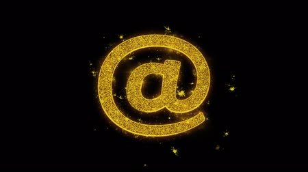 poczta : E mail, Email, Email, Inbox, Mail, Message Icon Sparks Glitter Particles on Black Background. Shape, Design, Text, Element, Symbol Alpha Channel 4K Loop.