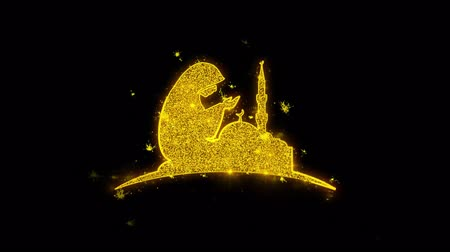 iftar : Dua,namaz,praying,islam,islamic Icon Sparks Glitter Particles on Black Background. Shape, Design, Text, Element, Symbol Alpha Channel 4K Loop.
