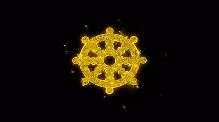 gong : Wheel of Dharma Buddhism religion Icon Sparks Glitter Particles on Black Background. Shape, Design, Text, Element, Symbol Alpha Channel 4K Loop.