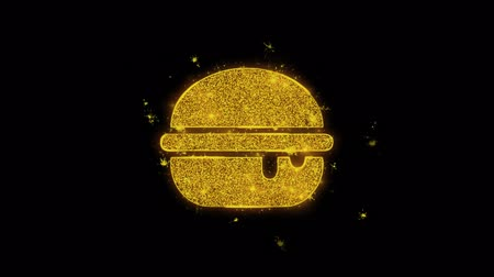 картофель фри : Burger, cheeseburger, fast junk food Icon Sparks Glitter Particles on Black Background. Shape, Design, Text, Element, Symbol Alpha Channel 4K Loop.