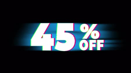 hoje : 45% Percent Off Text Glitch Effect Promotion Advertisement Loop Background. Price Tag, Sale, Discounts, Deals, Special Offers, Green Screen and Alpha Matte Stock Footage