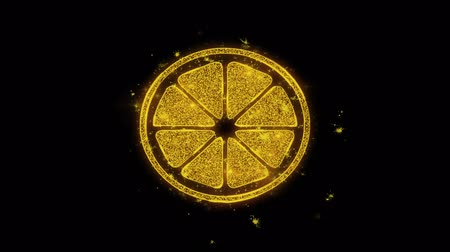 limão : Lemon, Lemon Fruit, Lemons Icon Sparks Glitter Particles on Black Background. Shape, Design, Text, Element, Symbol Alpha Channel 4K Loop.