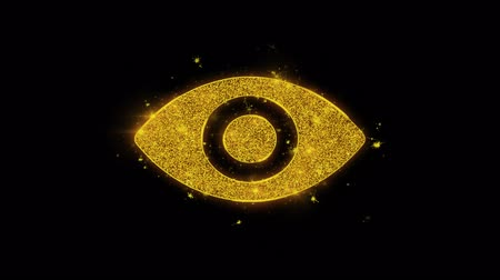 брови : Human Face eye view Icon Sparks Glitter Particles on Black Background. Shape, Design, Text, Element, Symbol Alpha Channel 4K Loop.