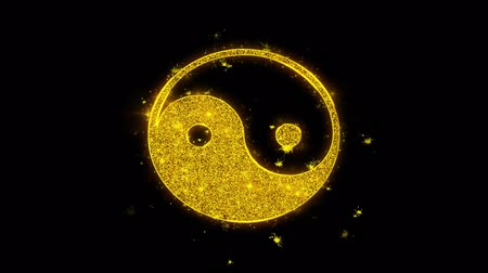 daoism : Yin Yang Taoism buddhism daoism religion Icon Sparks Glitter Particles on Black Background. Shape, Design, Text, Element, Symbol Alpha Channel 4K Loop.